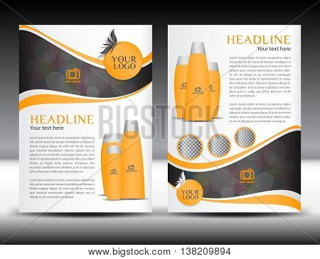 Orange business brochure flyer design layout template in A4 size magazine ads cosmetics booklet advertisement leaflet poster annual report cover template catalog