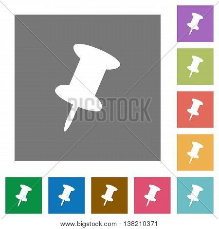 Push pin flat icon set on color square background.