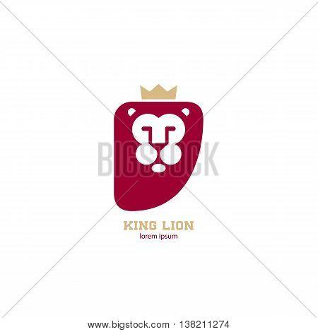lion king mark. Lion head with gold crown. Vector design element for logo label emblem sign badge.