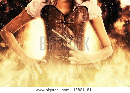 Close up view on single woman in steampunk outfit holding pistol in front of her while surrounded by flames