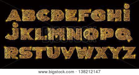 Decorative Alphabet With A Paisley Zen Doodle Tattoo Ornaments F