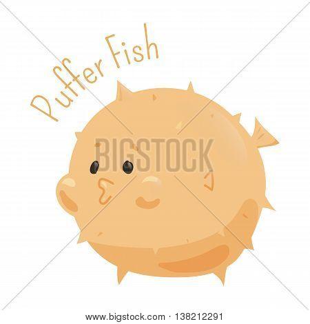 Puffer fish. Tetraodontidae is family marine and estuarine fish of Tetraodontiformes. Part of series of cartoon sea creature species. Marine animals. Sticker for kids. Child fun pattern icon. Vector
