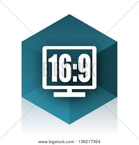 16 9 display blue cube icon, modern design web element