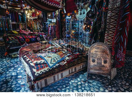 Sarajevo Bosnia and Herzegovina - August 23 2015. Textiles shop in Morica Han building at old bazaar and the historical and cultural center of the Sarajevo called Bascarsija