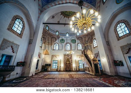 Sarajevo Bosnia and Herzegovina - August 23 2015. Interior of 16th century Ottoman style Gazi Husrev-beg Mosque located at Bascarsija area in Sarajevo