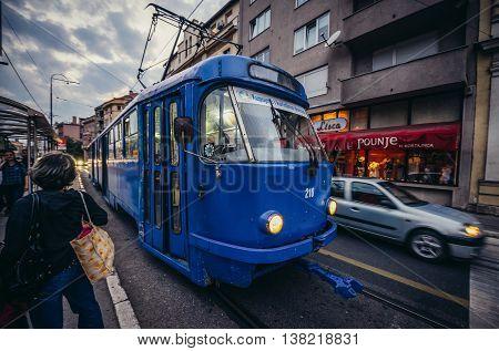 Sarajevo Bosnia and Herzegovina - August 23 2015. Blue tramway at Obala Kulina Bana Street in Sarajevo