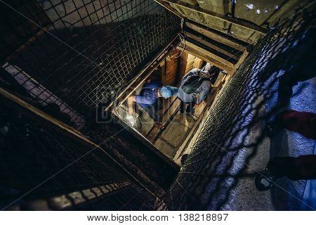 Sarajevo Bosnia and Herzegovina - August 24 2015. Tourists visits museum of underground tunnel constructed by Bosnian Army during the Siege of Sarajevo