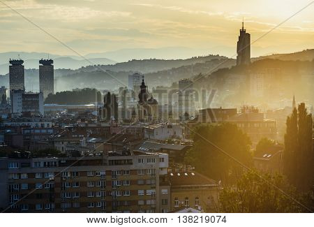 Sarajevo Bosnia and Herzegovina - August 24 2015. Evening view of Sarajevo with modern building called Avaz Twist Tower