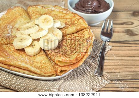 Pancakes With Bananas And Chocolate Paste