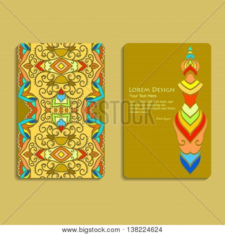 set of business card templates with stylized woman's figure and colorful hand drawn tribal ornament, mandala, for greeting, invitation card, or cover. Vector illustration.
