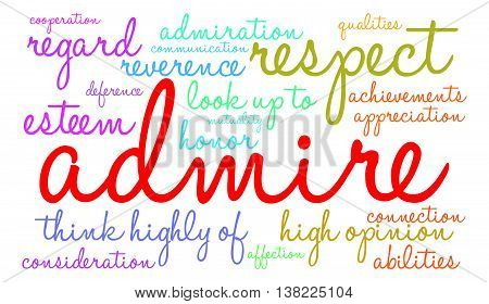 Admire word cloud on a white background.