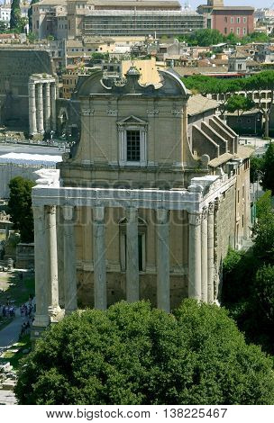 Temple of Antoninus and Faustina, Roman Forum. Rome, ITALY.