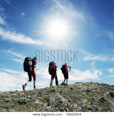 Backpackers in the hike