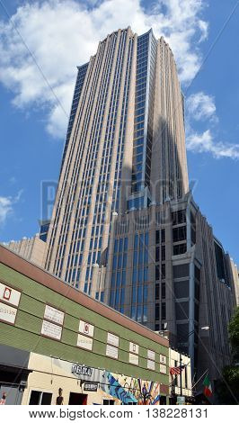 CHARLOTTE NORTH CAROLINA JUNE 20 2016: Hearst Tower in Charlotte, North Carolina is a 47-story skyscrape and is the 3rd-tallest building in Charlotte operated by Bank of America.