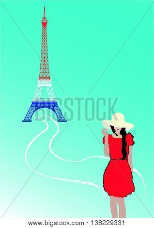 The Whitehead girl with suitcase on Eiffel tower background