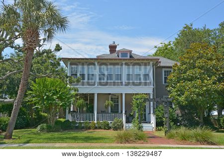 CHARLESTON SOUTH CAROLINA USA JUNE 27 2016: Historic houses along Battery st excellent example of 18th-century Georgian townhouse construction in Charleston, South Carolina