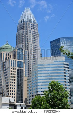 CHARLOTTE NORTH CAROLINA JUNE 22 2916: Bank of America Corporate Center building and downtown Charlotte is the largest city in the state of North Carolina. It is the county seat of Mecklenburg County
