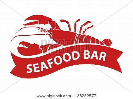 clip art red lobster on white background, EPS 10