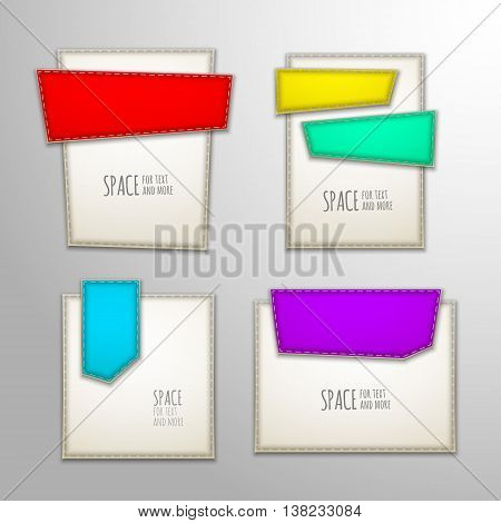 Vector set Illustration of Stitched banners Patches
