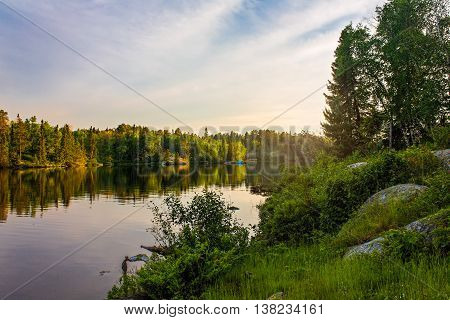 Sunset on Dogtooth Lake at Rushing River Provincial Park Ontario Canada