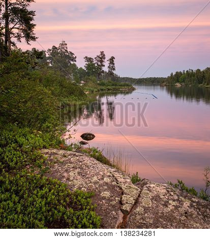 Colorful Sunset on Dogtooth Lake at Rushing River Provincial Park Ontario Canada