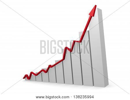 Business graph with a red upswing arrow 3d rendering