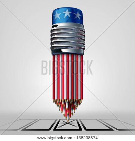 United States vote and voter concept as a group of pencils with white red and blue American colors casting a voting choice on a paper ballot as an election campaign symbol as a 3D illustration.