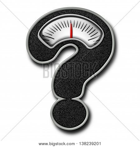 Dieting advice symbol as a bathroom weight scale shaped as a question mark representing diet confusion and healthy body lifestyle information in a 3D illustration style on a white background.