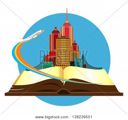 vector illustration round emblem metropolis with a bridge on the open book of the aircraft taking off