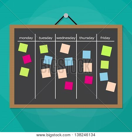 Scrum task board hanging on wall full of tasks on sticky note cards. Development, team work, agenda, to do list. vector illustration in flat style on green background with long shadow