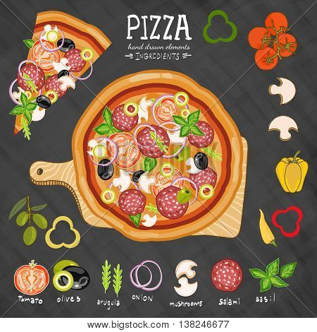 Pizza on a cutting board ingredients for pizza on a blackboard hand drawn collection vector illustration