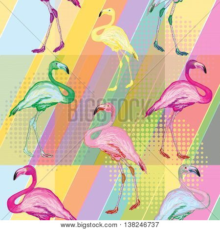 Colored flamingo on a bright color background colored flamingo tropical background seamless pattern vector