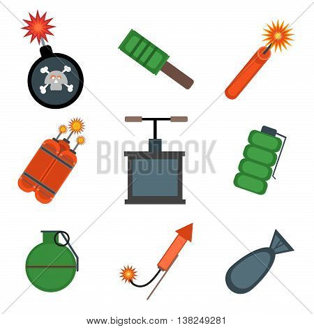 Vector isolated bombs icons set. War explosive danger bomb symbol. Vector destruction military bomb icon isolated. Dynamite fire cartoon arms power aggression set. Explosive danger symbol.