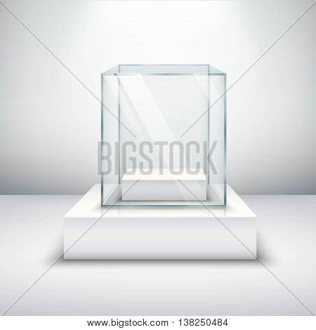 Realistic empty glass for exhibiting on white surface vector illustration