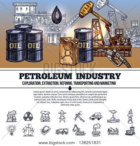 Oil industry infographics hand drawn layout with composition of elements of production refining and transportation of petroleum products vector illustration