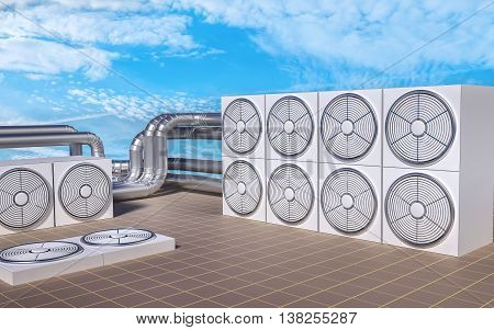 Hvac (heating, Ventilating, Air Conditioning) Units On Roof. 3D