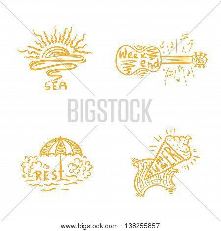Summer time handwritten lettering and emblems of sea and rest. Weekand illustration. Vector isolated collection.