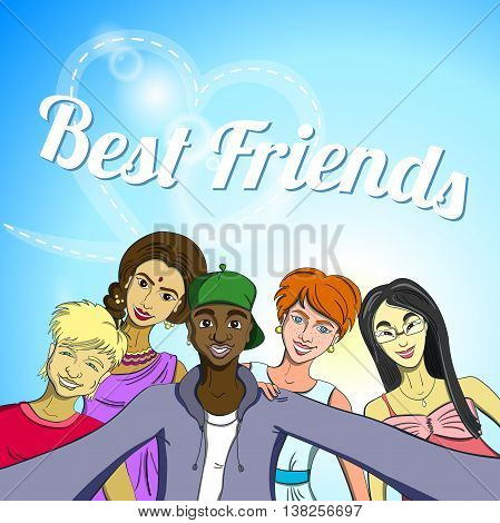 Hand drawn multiracial group of friends taking selfie. Vector illustration