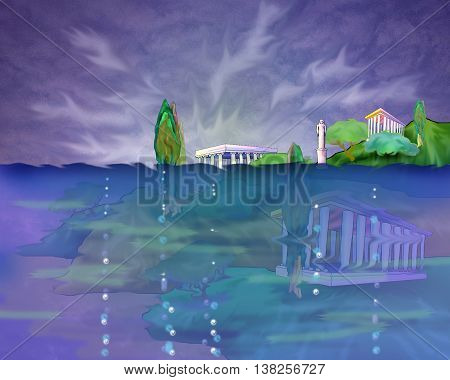 Legendary Lost Ancient City Atlantis in a Mediterranean Sea. Cartoon Style Character Fairy Tale Story Background Card Design.