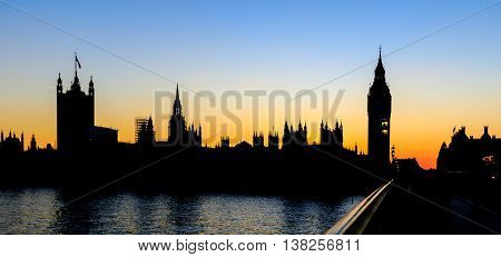 Palace of Westminster at Sunset Westminster London.