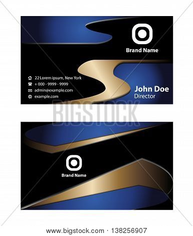 Blue business card template. Wave business card background