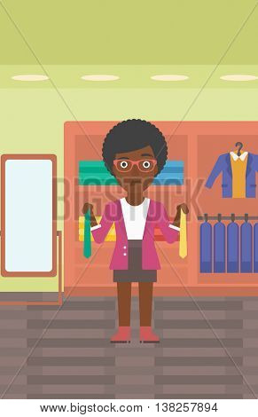 Thoughtful woman holding two neckties and trying to choose the best one. An african-american female customer choosing necktie at clothing store. Vector flat design illustration. Vertical layout.