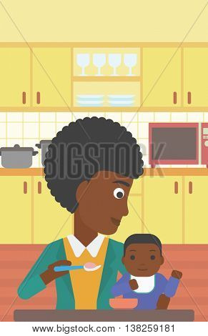 An african-american mother feeding baby at home. Young mother teaching baby to eat with spoon. Mother spoon-feeding her baby at kitchen. Vector flat design illustration. Vertical layout.