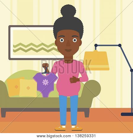 An african-american pregnant woman holding clothes for her baby. Pregnant woman with bodysuit for baby. Pregnant woman with presents at baby shower. Vector flat design illustration. Square layout.