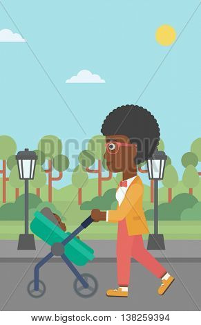 An african-american young mother walking with baby stroller in the park. Mother walking with her baby in stroller. Mother pushing baby stroller. Vector flat design illustration. Vertical layout.