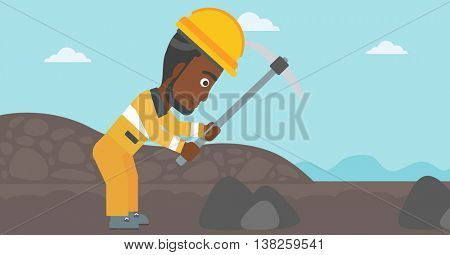 An african-american miner working with a pickaxe. Mine worker in hard hat. Miner at the coal mine. Vector flat design illustration. Horizontal layout.