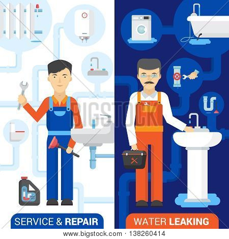 Drain cleaning and fixing leaking toilets plumber repair service 2 flat vertical banners abstract isolated vector illustration