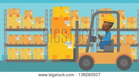 An african-american warehouse worker loading cardboard boxes. Forklift driver at work in storehouse. Warehouse worker driving forklift at warehouse. Vector flat design illustration. Horizontal layout.