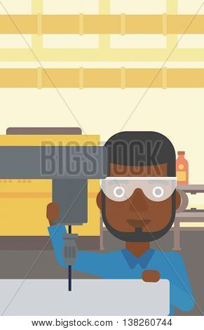 An african-american man working on a milling machine at workshop. Man using milling machine at factory. Man making a hole using a milling machine. Vector flat design illustration. Vertical layout.
