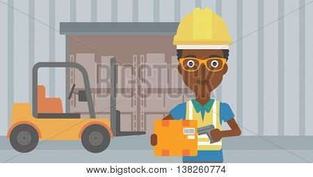 African-american warehouse worker scanning barcode on box. Warehouse worker checking barcode of box with a scanner. Woman in hard hat with scanner. Vector flat design illustration. Horizontal layout.
